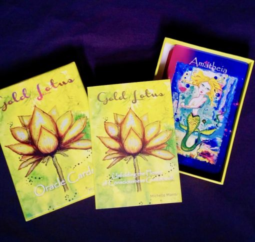 Gold Lotus Oracle Card Deck, Sacred Earth Crystals, Wholesale, Australia